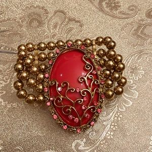 Gold beaded brooch bracelet